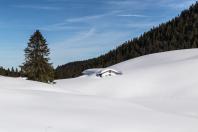 Winterpanorama mit Lenggrieser Alm